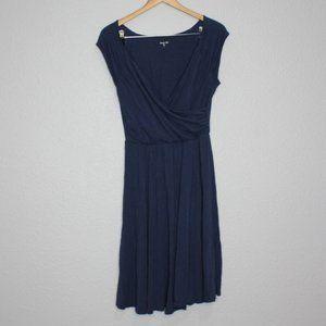 Garnet Hill Navy Blue V- Neck Midi Length Dress